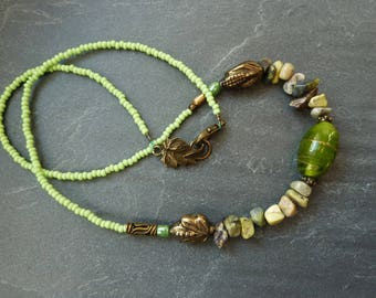 Ethnic necklace gemstone and glass beads