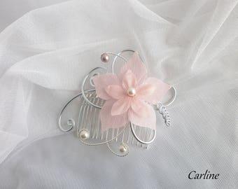 Chloe - Wedding silk flower hair comb pink light ivory