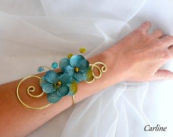 Victoria – Wedding aqua blue aluminum Bracelet lime green