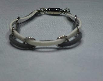 White and grey suede bracelet