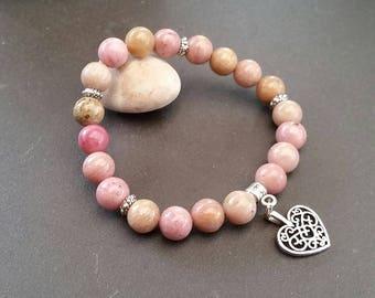 Rhodonite (8 mm beads) heart charm bracelet