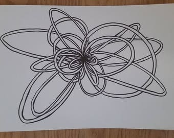 Abstract Drawing, Black & White - Loop 1