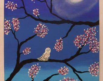 Midnight Owl on 5 X 7 Canvas Panel