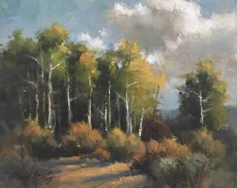 Aspen Grove, Plein Air Painting, Original Oil on Canvas 8x10