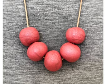 Crimson Red Beaded Polymer Clay Necklace