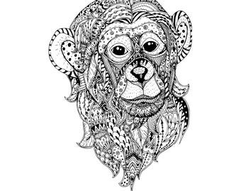 Illustration of a monkey in zentangle style