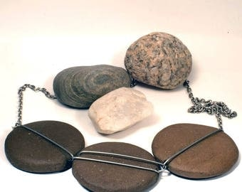 Raw stone stainless steel necklace