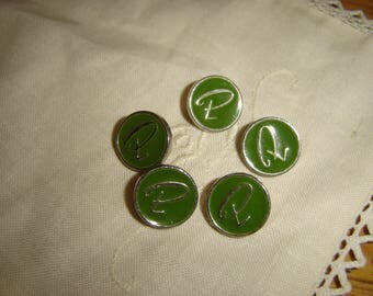5 buttons METAL Monogram / / 15 mm