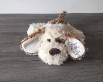 Plush dog 40 cm with name embroidered in the ear - ecru & Brown