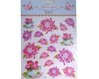 Board Tilda chrysanthemums, Tilda scrapbooking embellishment stickers