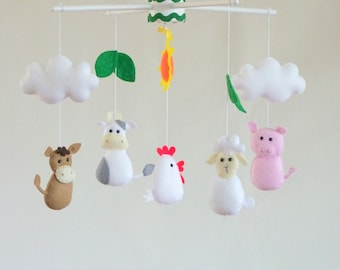 Baby crib mobile, Baby mobile,  Farm theme, Farm animals, Ready to ship, Musical baby mobile, Crib mobile, Personalized mobile