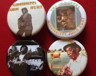 "MISSISSIPPI JOHN HURT set of 4 buttons 1.25"""