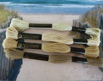 Cotton 4 skeins shades of beiges 612/613/640/644 for bracelets or embroidery skein for creations