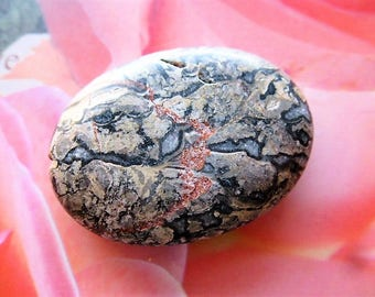 Pearl area Jasper natural stone and quartz bead for pendant 39 mm