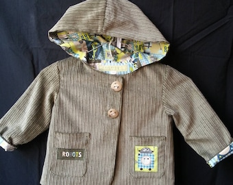 Jacket has corduroy lined cotton Hoodie
