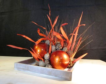Composition design on top orange and Brown wood