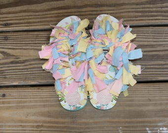 Butterfly Pattern Size 6 Women's | Flip Flops | Shaggy Shoes | Custom and One of a Kind!