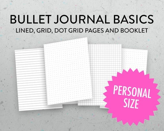 Personal Size Grid Dot Grid Lined Insert Bullet Journal