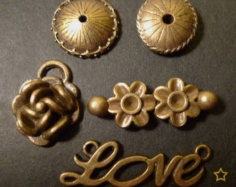 5 charms and bronze metal beads