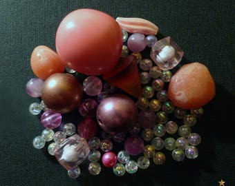 67 beads in orange, pink and clear resin Pearl