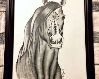 Dreamcatcher Stallion Original Drawing