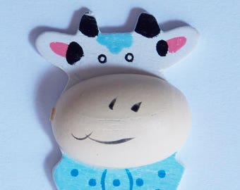 Wooden blue and white cow sticker ❤