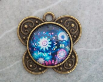 ❥ Butterfly flower 18mm cabochon pendant bronze