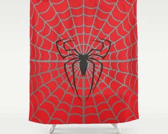 Spiderman Inspired Shower Curtain, Spider, Hero Character, Marvel Comics,  Avengers Art,
