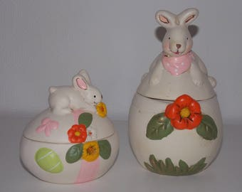 Set of 2 ceramic Easter Bunny egg boxes