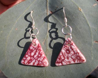 Red triangle flower earrings