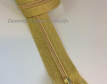 Zipper mesh fine 45 cm detachable plastic - lurex gold