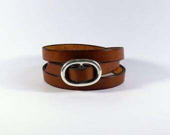 Bracelet Brown cognac leather adjustable - 10mm - 3 x wrap strap - leather women Bracelet