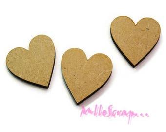 Set of 3 hearts wood blank scrapbooking cardmaking model 2 (ref.710) *.