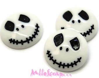 "Set of 3 skulls ""halloween"" white scrapbooking jewelry *."