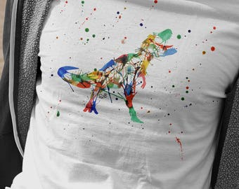 Rainbow Tyrannosaurus T-Shirt, Abstract T-Rex Tshirt, Watercolour Dinosaur Shirt, Gifts For Him, Dino Lover Present, Tyrannosaurus Rex Tee
