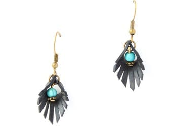 Ethnic earrings bicycle inner tube recycled & Turquoise