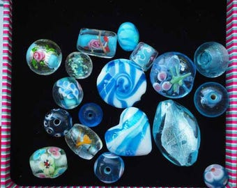 Set of 18 different styles, oval, round, flat, heart glass beads turquoise tones