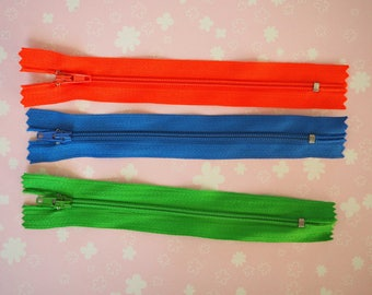 3 zippers zip 14 x 5cm, bright colors orange, blue, green (as pictured)