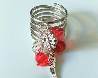 Wide ring silver pendants or charms, red, multi strand.