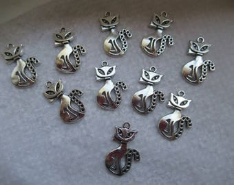 PENDANTS pussies Foundation 2.6 cm filigree with little bows set of 10 color silver for creating jewelry