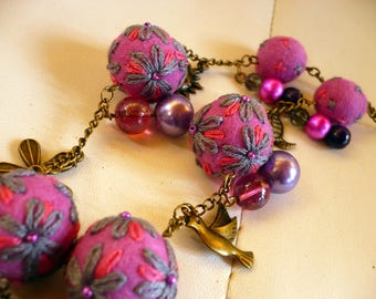 necklace made of wool felt and embroidered with color beads Pink Purple and gray