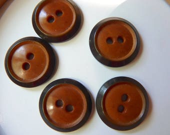 set of 5 small round buttons beautiful corozo vegetable ivory, Brown and fawn diameter 2.2 cm