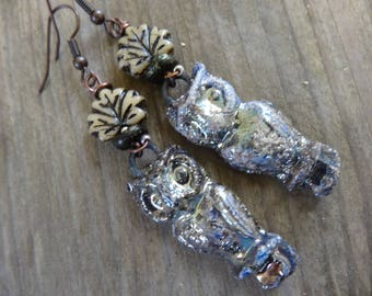 Silver Golden OWL - poetic rustic earrings - ceramic, glass bead - beige tones