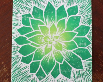 Handprinted Green and Yellow Succulet Card