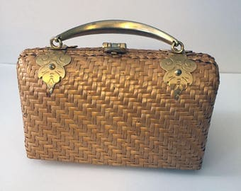 1970s Structured Woven Bag with Gold Handle