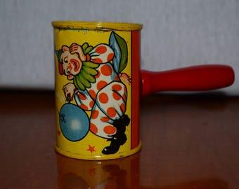 Vintage Tin Noisemaker with two clowns Motif (1930's/1940's) Vivrant Colors