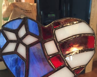 Stained Glass American Flag Heart
