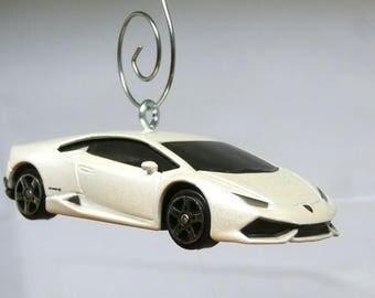 Lamborghini Huracan LP 610 4 White Sports Car Christmas Ornament,  BettyGiftStoree