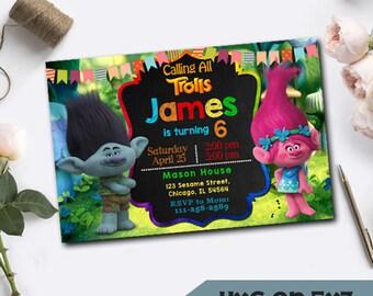 Trolls Birthday, Trolls Birthday Invitations, Trolls Invitations, Trolls Birthday Party, Trolls Invitation Digital