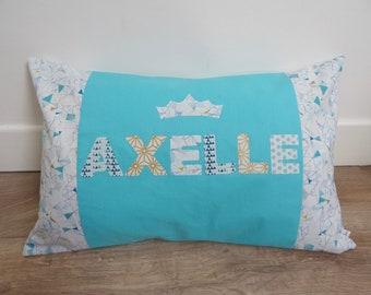 Personalized turquoise cushion